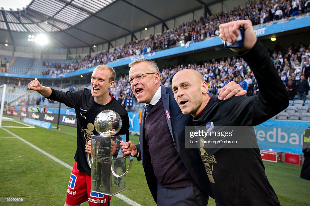 Andreas Johansson, Jan Andersson and Daniel Sjslund celebrate winning the Swedish League after the match between Malmo FF and IFK Norrkoping at Swedbank Stadion on October 31, 2015 in Malmo, Sweden.