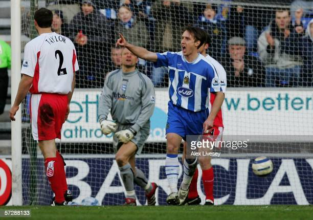 Andreas Johansson of Wigan celebrates his goal during the Barclays Premiership match between Wigan Athletic and Birmingham City at The JJB Stadium on...