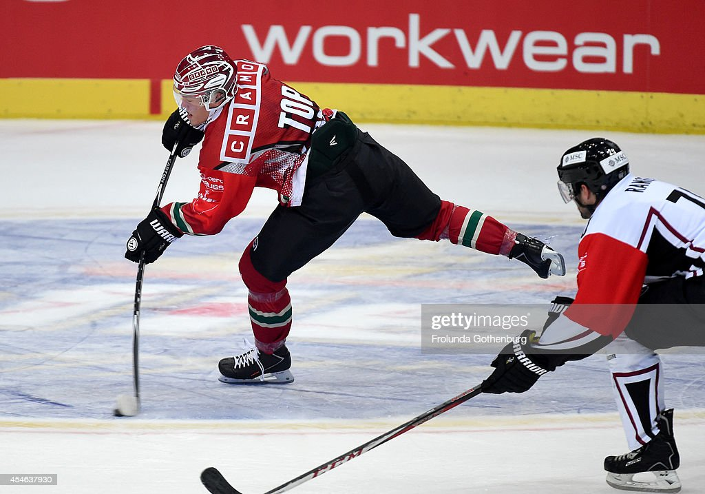 Andreas Johnsson #88 of Forlunda shoots and scores the first goal of the game during the Champions Hockey League group stage game against Geneve-Servette on September 4, 2014 in Gothenburg, Sweden.