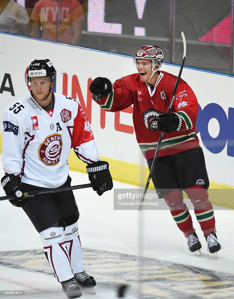 Andreas Johnsson #88 of Frolunda celebrates his goal to put his team up 1-0 during the Champions Hockey League group stage game against Geneve-Servette on September 4, 2014 in Gothenburg, Sweden.