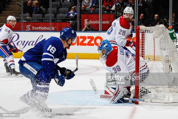 Andreas Johnsson of the Toronto Maple Leafs scores on Charlie Lindgren of the Montreal Canadiens during the third period at the Air Canada Centre on...