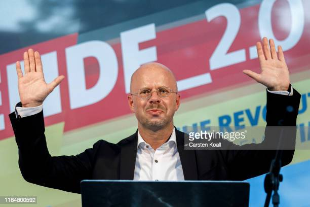 Andreas Kalbitz lead candidate of the rightwing Alternative for Germany political party in elections in Brandenburg state speaks to supporters at the...