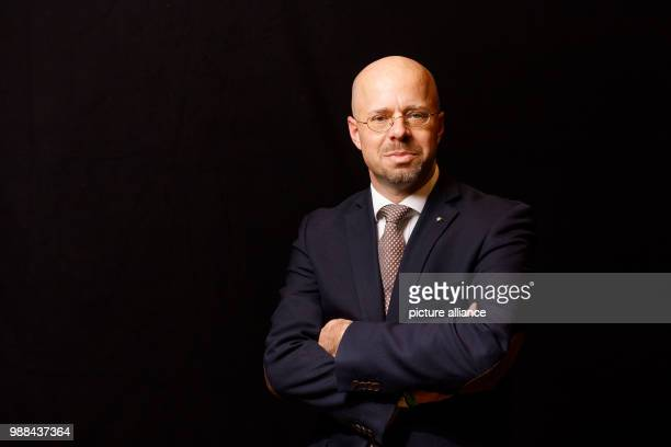 Andreas Kalbitz member of the federal board of the Alternative for Germany stands in a mobile photo studio in the course of the AfD's party...