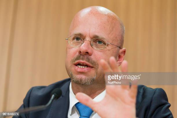 Andreas Kalbitz of Antiimmigration populist Alternative fuer Deutschland party is pictured during a press conference regarding an upcoming large...