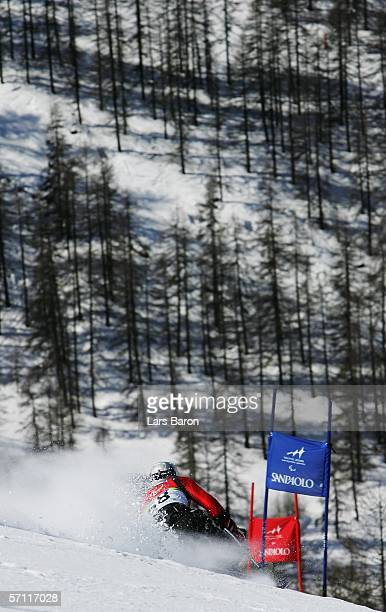 Andreas Kapfinger of Austria competes in the Men's Giant Slalom Sitting during Day Seven of the Turin 2006 Winter Paralympic Games on March 17 2006...