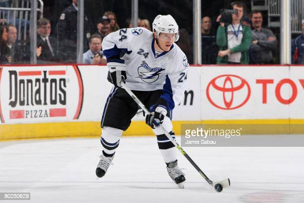 Andreas Karlsson of the Tampa Bay Lightning skates with the puck against the Columbus Blue Jackets on March 9, 2008 at Nationwide Arena in Columbus,...