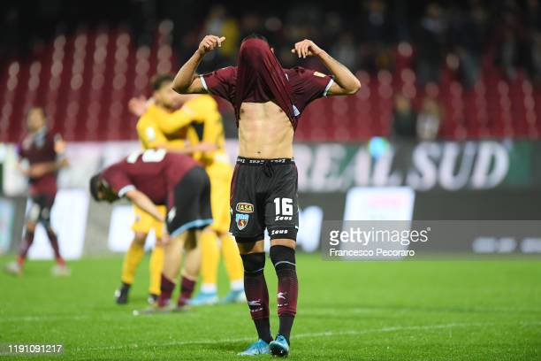 Andreas Karo of US Salernitana looks dejected after the Serie B match between US Salernitana and Ascoli Calcio on November 30, 2019 in Salerno, Italy.