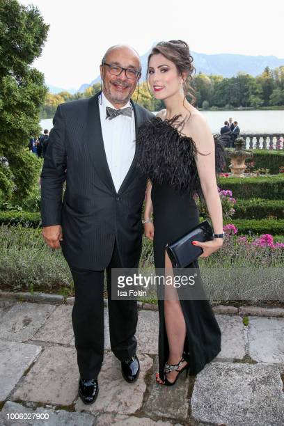 Andreas Kaufmann CEO of Leica and Veronika Kovaleva during the ISA gala at Schloss Leopoldskron on July 26 2018 in Salzburg Austria
