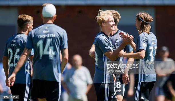 Andreas Kirkeby and Rasmus Falk of FC Copenhagen celebrate after scoring their second goal during the friendly match between FC Copenhagen and Lyngby...