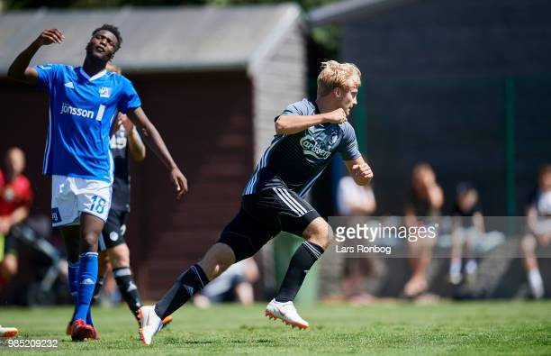 Andreas Kirkeby of FC Copenhagen celebrates after scoring their second goal during the friendly match between FC Copenhagen and Lyngby Boldklub at...