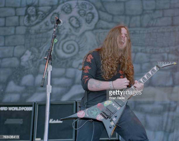 Andreas Kisser lead guitarist with Brazilian heavy metal band Sepultura performs live on stage at the 1994 Monsters of Rock festival at Castle...