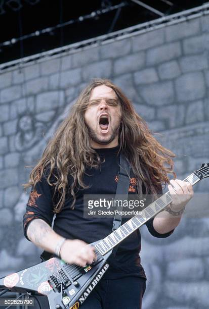 Andreas Kisser of Sepultura performing on stage during the Monsters of Rock Festival at Donington Park in Castle Donington Leicestershire on the 4th...