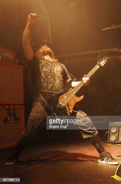 Andreas Kisser of Sepultura performs on stage at O2 Islington Academy on February 6 2014 in London United Kingdom