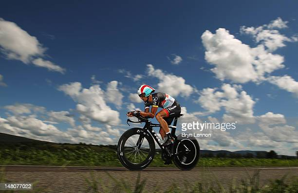 Andreas Kloden of Germany and Radioshack-Nissan in action during stage nine of the 2012 Tour de France, a 41.5km individual time trial, from...