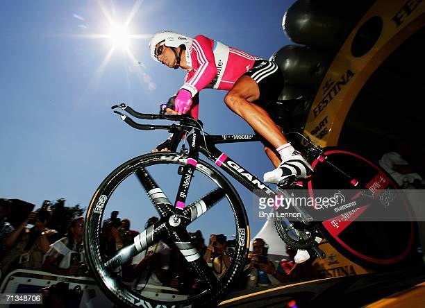 Andreas Kloden of Germany and T Mobile Team in action at the start of France and Credit Agricole in action at the start the Tour de France Prologue...