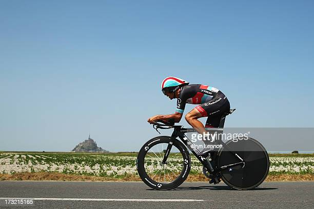Andreas Kloden of Germany and Team Radioshack Leopard rides during stage eleven of the 2013 Tour de France, a 33KM Individual Time Trial from...