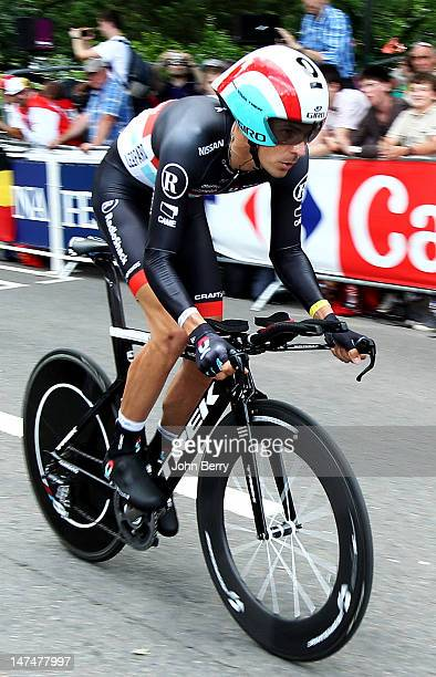 Andreas Kloden of Germany competes in the Prologue of the 2012 Tour de France on June 30 2012 in the streets of Liege Belgium