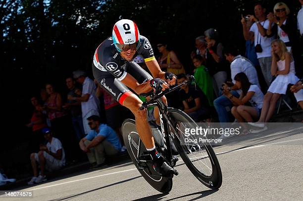 Andreas Kloden of Germany riding for Radioshack-Nissan races to 10th place individual time trial on stage nine of the 2012 Tour de France from...