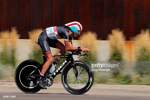 Andreas Kloden of Germany riding for Radioshack-Nissan races to 21st place in the individual time trial during stage seven and fourth overall in the...