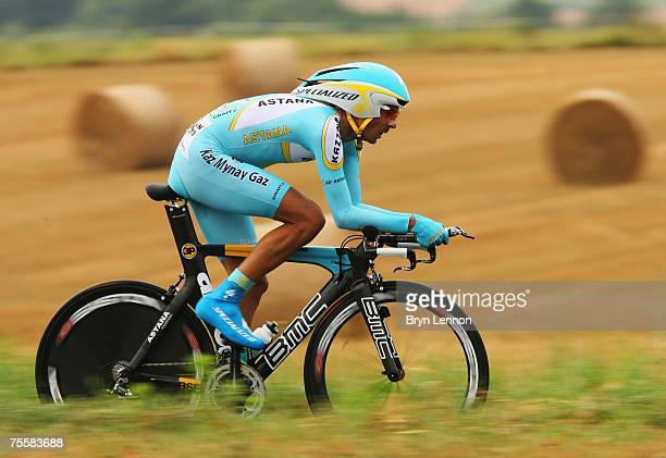 Andreas Kloeden of Germany and Astana rides during stage 13 of the 2007 Tour de France an individual time trial from Albi to Albi on July 21, 2007 in...