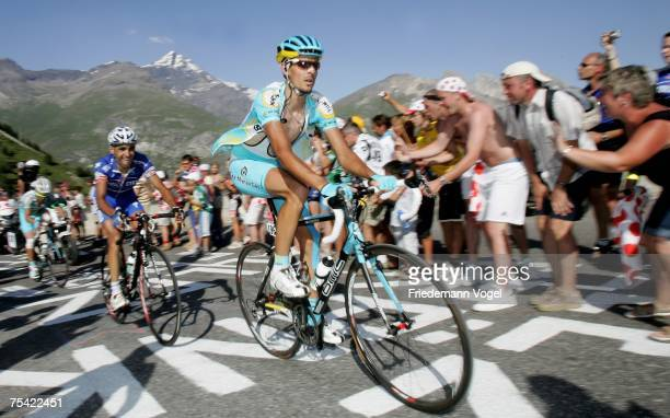 Andreas Kloeden of Germany and Team Astana rides during stage eight of the Tour de France from Le Grand-Bornand to Tignes on July 15, 2007 in Tignes,...