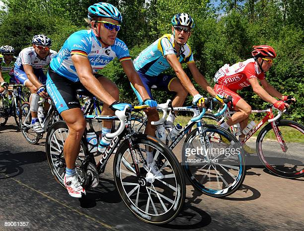 Andreas Kloeden of Germany and team Astana rides with his fellow countryman Gerald Ciolek of team Milram during stage 12 of the 2009 Tour de France...