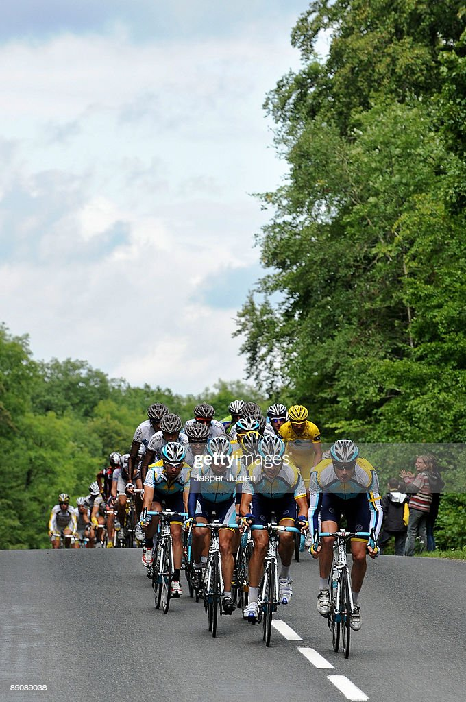 Andreas Kloeden (2nd R) of Germany and team Astana rides with his teammates during stage 14 of the 2009 Tour de France from Colmar to Besancon, France on July 18, 2009 in Colmar, France.