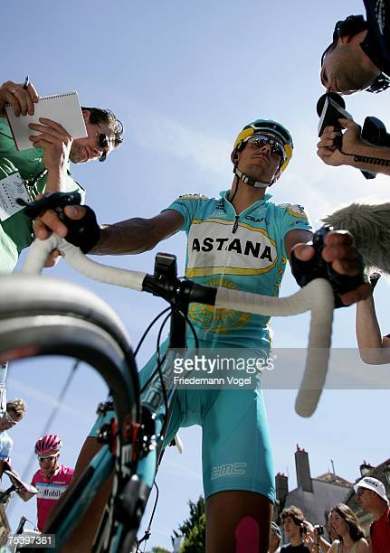 Andreas Kloeden of Germany and Team Astana speaks to journalists during the Stage Six of the Tour de France between Semur-en-Auxois and...