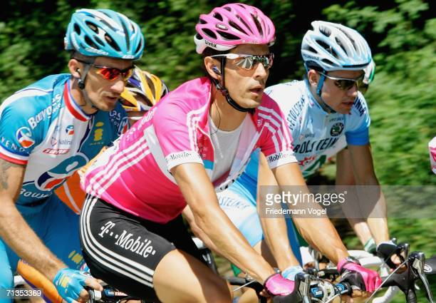 Andreas Kloeden of Germany and the T-Mobile Team cycling in the pack during Stage 1 of the 93rd Tour de France between Strasbourg and Strasbourg on...