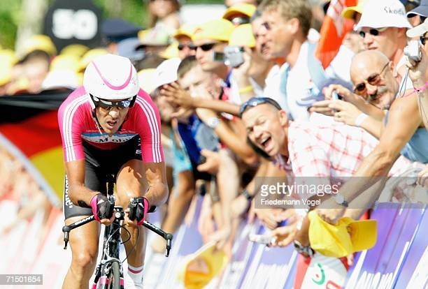 Andreas Kloeden of Germany and T-Mobile in action during Stage 19 time trial of the 93rd Tour de France between Le Creusot and Montceau-les-Mines on...