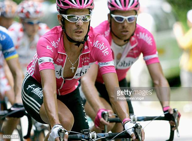 Andreas Kloeden of Germany and T-Mobile rides with teammate Jan Ullrich during Stage 10 of the 92nd Tour de France between Grenoble and Courchevel...
