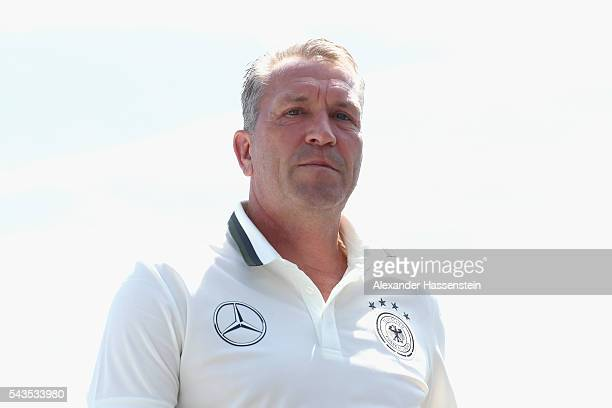 Andreas Koepcke assistent coach of Germany arrives for a Germany press conference at Ermitage Evian on June 29 2016 in EvianlesBains France