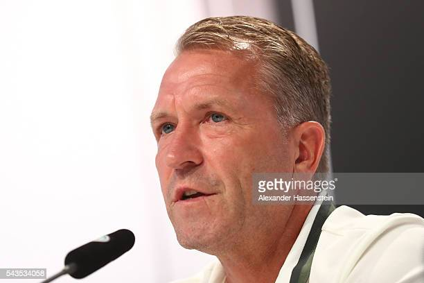 Andreas Koepcke assistent coach of Germany talks to the media during a Germany press conference at Ermitage Evian on June 29 2016 in EvianlesBains...