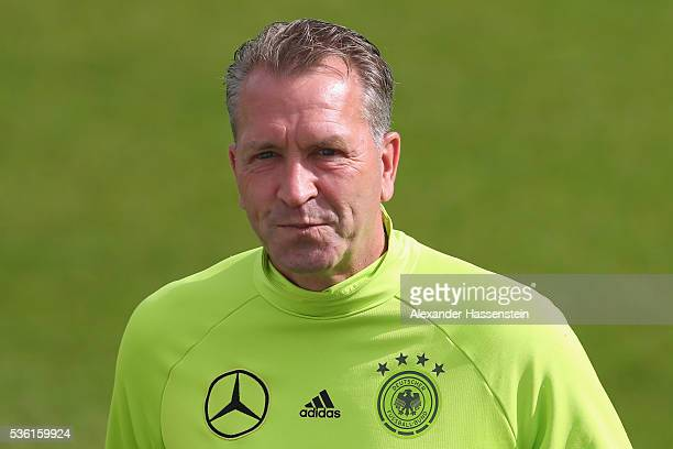 Andreas Koepcke assistent coach of the German national team looks on during a training session at Stadio communale on day 8 of the German national...