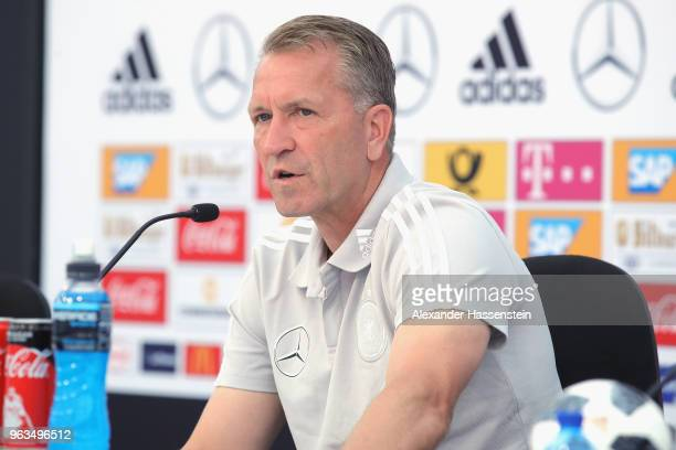 Andreas Koepcke goal keeper of Germany talks to the media during a press conference of the German national team at Sportanlage Rungg on day seven of...