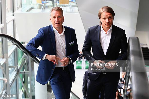 Andreas Koepke and Thomas Schneider arrive for the extraordinary DFB Bundestag at Congress Center Messe Frankfurt on April 15 2016 in Frankfurt am...