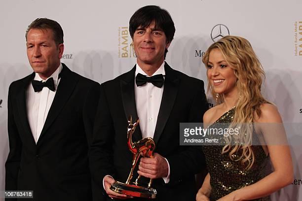 Andreas Koepke Shakira and Joachim Loew pose with the Special Bambi award at the Bambi 2010 Award Winners Board at Filmpark Babelsberg on November 11...