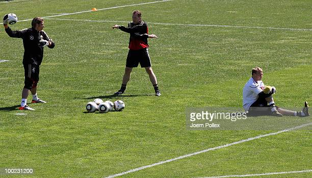 Andreas Koepke talks to Tim Wiese as Manuel Neuer looks on during a training session at Sportzone Rungg on May 22, 2010 in Appiano sulla Strada del...