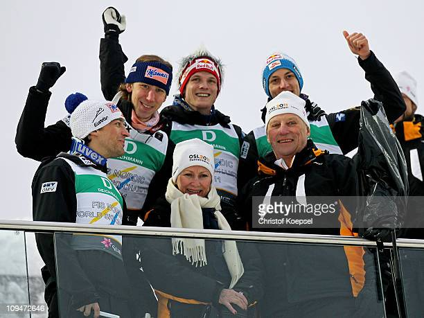 Andreas Kofler, Martin Koch, Thomas Morgenstern and Gregor Schlierenzauer of Austria pose with Queen Sonja of Norway and King Harald V of Norway...