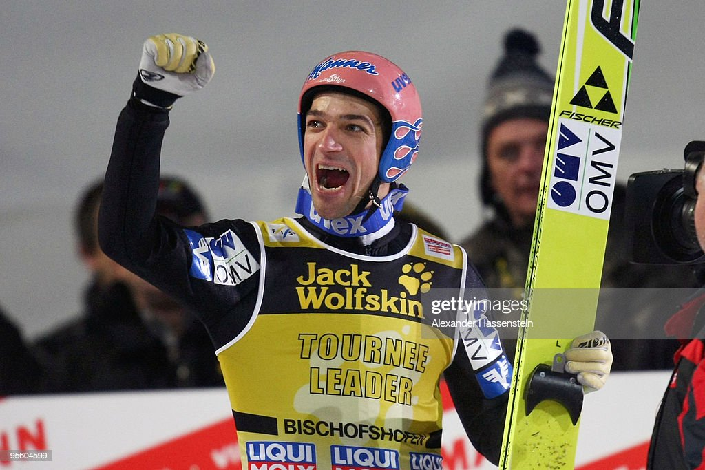 Andreas Kofler of Austria celebrates after final round for the FIS Ski Jumping World Cup event of the 58th Four Hills ski jumping tournament on January 6, 2010 in Bischofshofen, Austria.