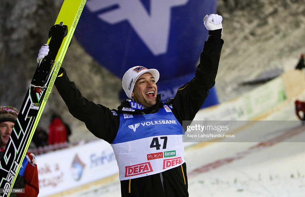 Andreas Kofler of Austria celebrates his victory in the individual HS142 during the FIS Ski Jumping World Cup on November 28, 2010, in Kuusamo, Finland.