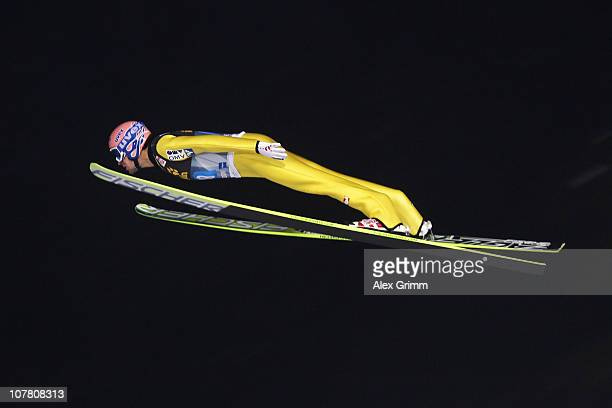 Andreas Kofler of Austria competes during the first round of the FIS Ski Jumping World Cup event at the 59th Four Hills ski jumping tournament at...