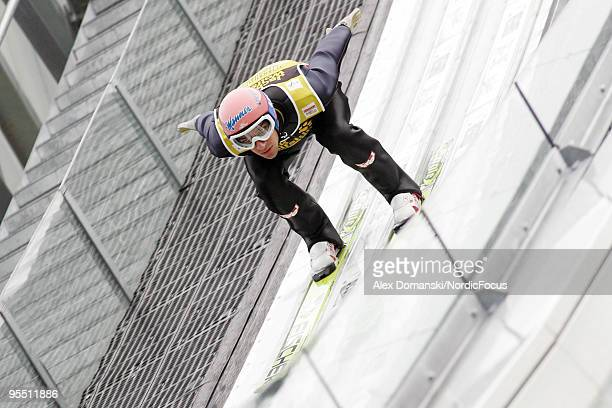 Andreas Kofler of Austria competes during the FIS Ski Jumping World Cup event of the 58th Four Hills Ski Jumping Tournament on December 31, 2009 in...