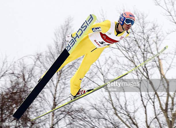 Andreas Kofler of Austria competes in the day two of the FIS Ski Jumping World Cup Sapporo at Okurayama Jump Stadium on January 16, 2011 in Sapporo,...