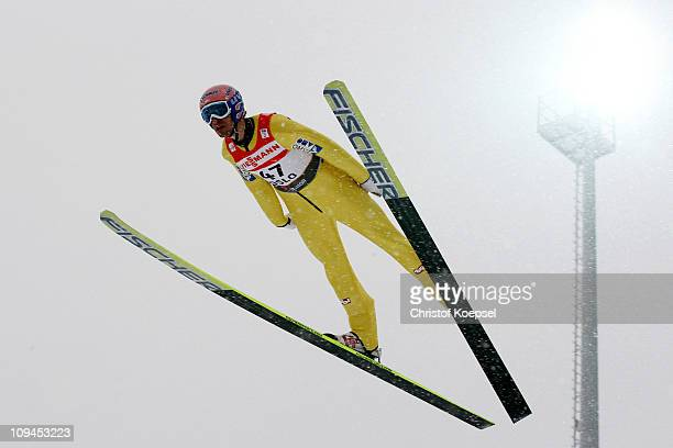 Andreas Kofler of Austria competes in the Men's Ski Jumping HS106 competition during the FIS Nordic World Ski Championships at Holmenkollen on...