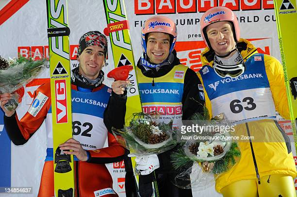 Andreas Kofler of Austria Severin Freund of Germany and Anders Bardal of Norway on the podium during the FIS Ski Jumping World Cup HS138 on December...