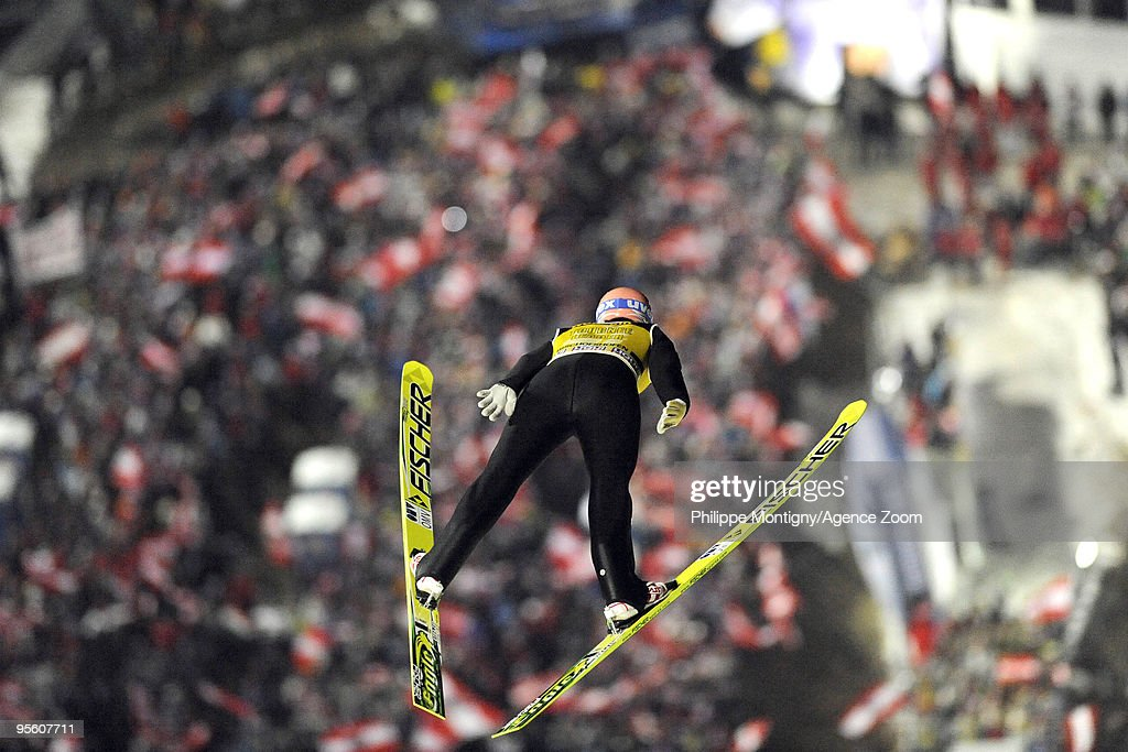 Andreas Kofler of Austria takes 1st place of the tournee during (trial round/final) for the FIS Ski Jumping World Cup event at the 58th Four Hills ski jumping tournament on January 6, 2010 in Bischofshofen, Austria.