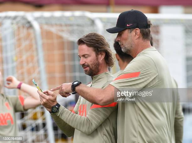 Andreas Kornmayer of Liverpool Jurgen Klopp manager of Liverpool during a training session on July 26, 2021 in UNSPECIFIED, Austria.