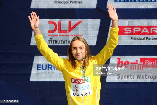 Andreas Kramer of Sweden silver poses during the medal ceremony for the Men's 800 metres during day six of the 24th European Athletics Championships...