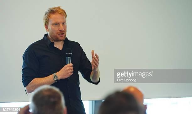 Andreas Kraul journalist of Danmarks Radio DR Sporten and president of Danske Sportsjournalister speaking during the Danish Alka Superliga media...